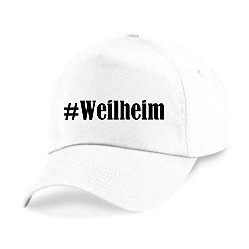 Reifen-Markt Base Cap Hashtag #Weilheim Größe Uni Farbe Weiss Druck Schwarz