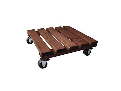 RADO Portavaso In Legno – 30 X 30 Cm – Ontano Stile Vintage – Carrello Portavasi Da Giardino – Stand Mover Dolly Su Ruote