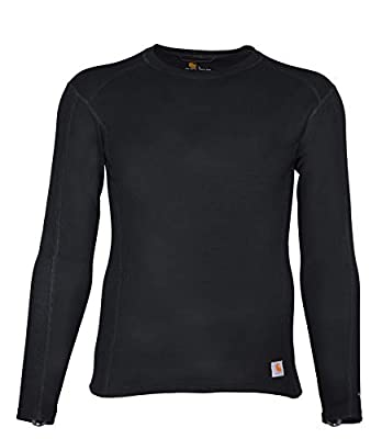 Carhartt Men's Force Midweight Classic Thermal Base Layer Long Sleeve Shirt, Black, X-Large