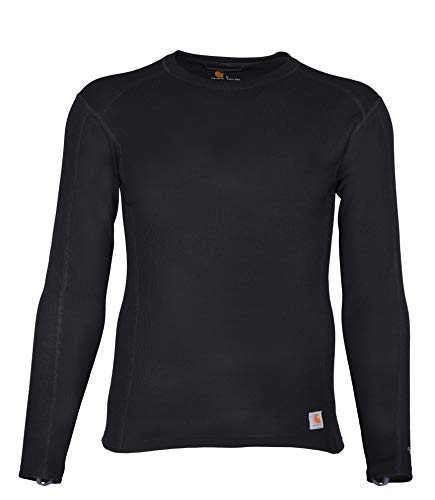 Carhartt Men's Force Midweight Classic Thermal Base Layer Long Sleeve Shirt, Black, Medium
