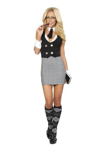 Roma Costume 4 Piece Librarian Costume, Grey/Black, Medium/Large