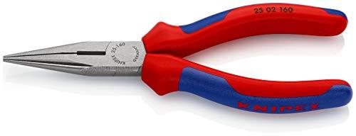 KNIPEX 25 02 160 Flachrundzange mit Schneide (Radiozange) schwarz atramentiert mit Mehrkomponenten-Hüllen 160 mm