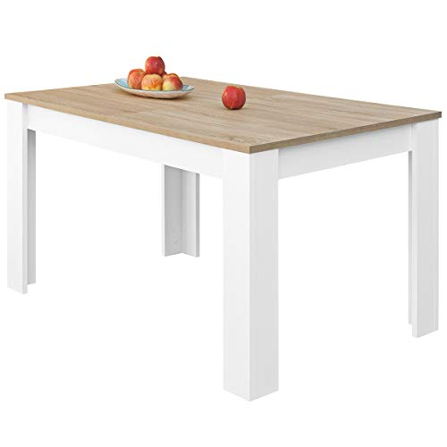 COMIFORT – Mesa De Comedor Extensible Moderna de 120 a 170 cm, Medidas 120/170x75x78 cm, Disponible en Colores: Blanca, Blanco/Roble, Roble, Wengue, Nordic (Blanco/Roble)