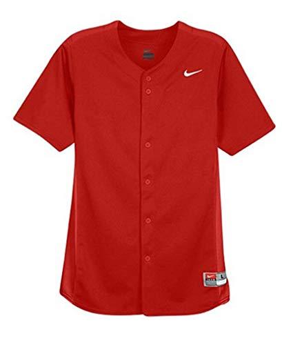 Nike Boy's Full-Button Vapor Baseball Jersey (Large, Scarlet/White)