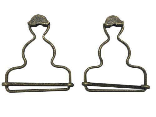Trimming Shop 2 Pièces Grand Attaches Salopette Clip Renfort Boucles - Couleur Bronze - Mesure 53mm X 42mm