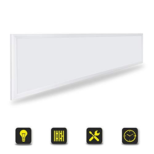 OUBO LED Panel 120x30 Neutralweiß 4000K LED Deckenleuchte Ultraslim 36W 3500 Lumen Weißrahmen Wandleuchten für Küche, Keller, Büro, Flur, Labor, inkl. Netzteil