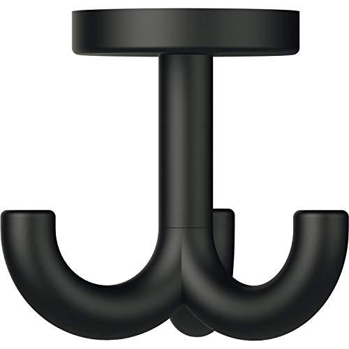 HEWI 477.90B050 90 Dreifach-Drehhaken 477.90.050 Breite 73,Höhe 70mm,Polyamid tiefschwarz, Farbe: schwarz matt