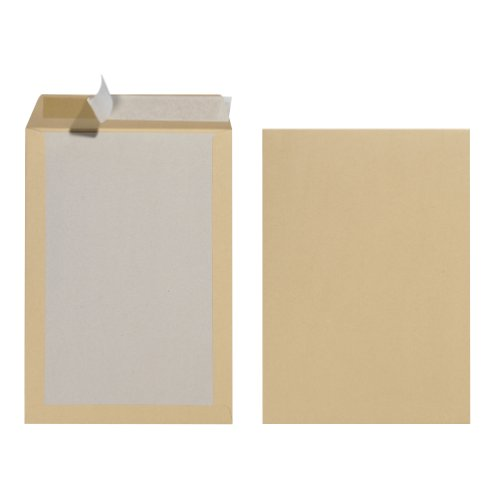 Herlitz 10901023 Versandtasche B4 mit Papprückwand, Haftklebung, braun, 10 Stück eingeschweißt 130g Pappe