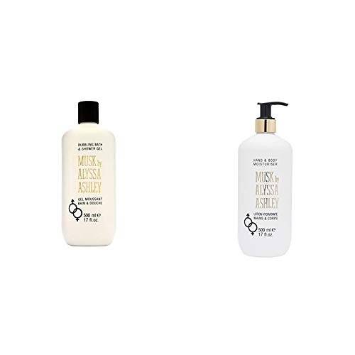 Alyssa Ashley Musk Bath und Showergel, Duschgel, 1er Pack, (1x 500 ml) & Musk Hand & Bodylotion, 500 ml
