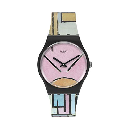 Swatch Correa de silicona de cuarzo estándar Gent, rosa, 16 reloj casual (Modelo: GZ350)