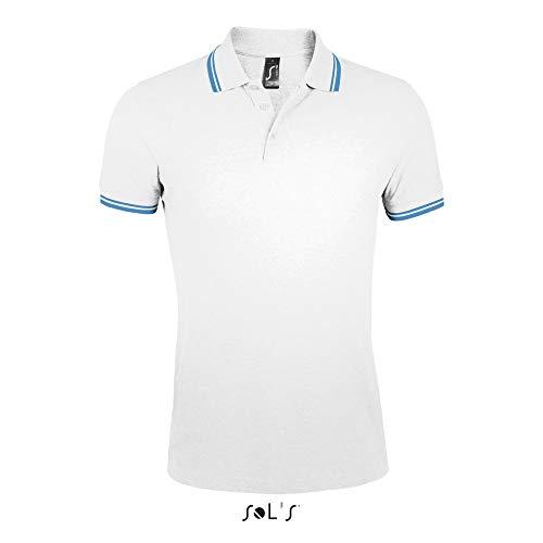 SOL´S Men´s Polo Shirt Pasadena, M, White Aqua