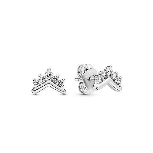 Principessa corona forma gioielli chiaro spumante 925 Sterling argento tiara Wishbone stud orecchini regalo donne gioielli