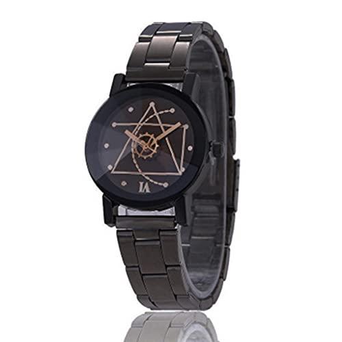 U-K Rebajas Hombre Reloj de Moda Acero Inoxidable Reloj Analógico de Cuarzo Negro ExcelenteDiseño Conveniente