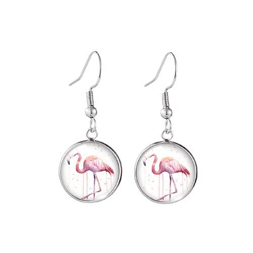 Pendientes de flamenco rosa con diseño de pájaro y gancho de pescado hecho a mano redondo de cristal cúpula joyería regalos niña