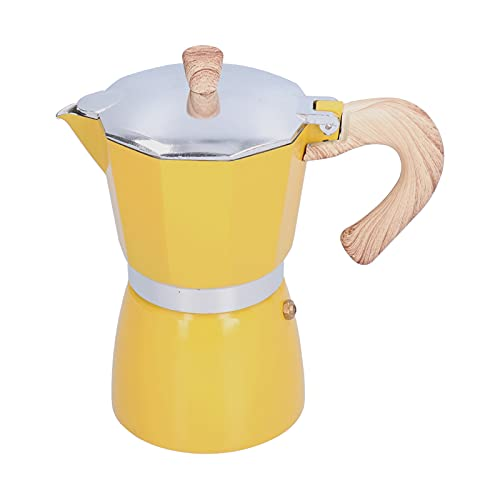 Stovetop Espresso Maker, 300ML Coffee Pot Moka Maker Coffee Kettle for Gas Stove Ethanol Stove Electrothermal Furnace(Yellow)