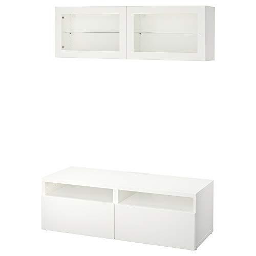 BESTÅ TV-opbergcombinatie/glazen deuren 120x166 cm Lappviken/Sindvik wit helder glas