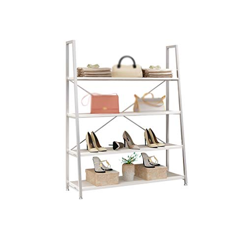 XuZGangRack Estante del zapato, guardarropa armario de ropa tienda de zapatos Estante de 4 niveles del metal plateado estantería de reserva soporte fácil de montar zapato robusta torre cremallera 90 *