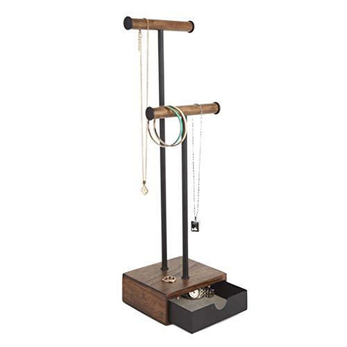 Umbra Pillar Jewelry Stand Black/Walnut, Brown, Tall