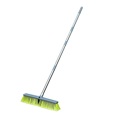 PHYEX Upgraded 18' Push Broom with Adjustable Long Handle, Total Length is 55', Multi-Surface Floor Scrub Brush for Cleaning Deck, Patio, Garage, Driveway