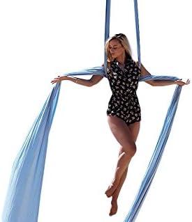 F.Life 11 Yards Aerial Silks Equipment- Medium Stretch Aerial Silk Hardware kit for Acrobatic Dance,Air Yoga, Aerial Yoga Hammock 10 Meters Long