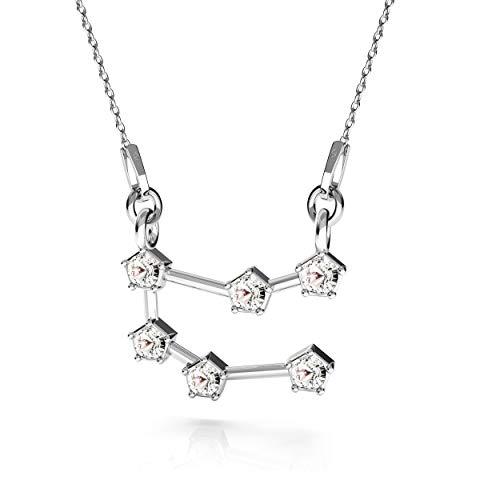 Beforia Paris - halsketting - sterrenbeeld - tweelingen - kristal - met zilveren ketting van 925 zilver met Swarovski® Elements hanger, cadeau, halsketting met sieradenetui PIN/75