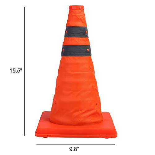 Sunnyglade 4 Pack 15.5 inch Collapsible Traffic Cones Multi Purpose Pop up Reflective Safety Cone (4)