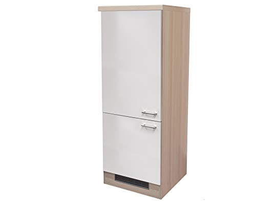 MMR Midi-Kühlschrankumbauschrank DERRY - Küchen-Umbauschrank - 2-türig - 60 cm breit - Perlmutt Weiß