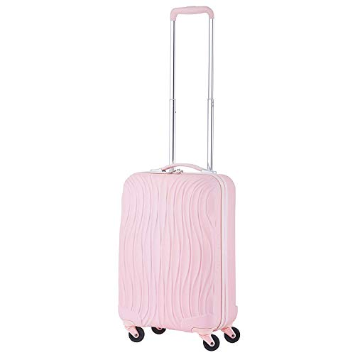 "Cabin size 20"" luggage wave style Baby Pink with USB plug/size suite for all airlines"