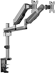 "AVLT-Power Dual 32"" Monitor Long Pole Desk Stand - Mount Two 17.6 lbs Computer Monitors on 2 Full Motion Adjustable Arms - Organize Your Work Surface with Ergonomic Viewing Angle VESA Monitor Mount"