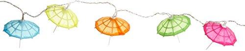 Best Season Party-Kette Party Lights Umbrella, 10-teilig Material Kunststoff, warmweiß LED, Bunte Schirme circa 2,35 m, Kabel, Outdoor, Vierfarb-Karton, transparent 476-28