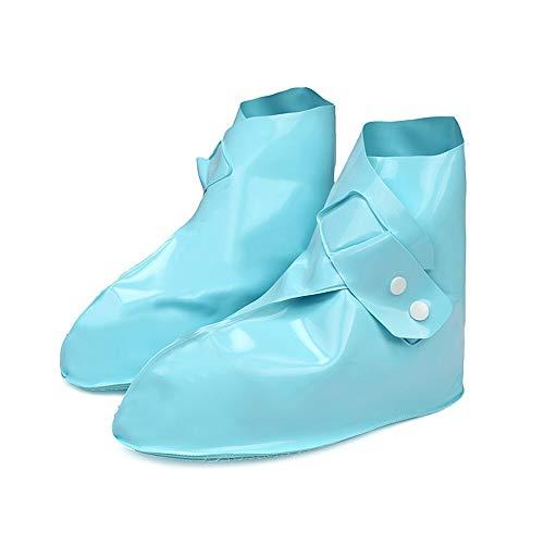 XIJUGE Überschuhe, wasserdicht Regen Stiefelgamaschen wiederverwendbar Regen Stiefelgamaschen Unisex rutschfeste Gummiüberschuhe Schuhzubehör Volltonfarbe Ueberziehsch (Color : Blue, Size : XXL)