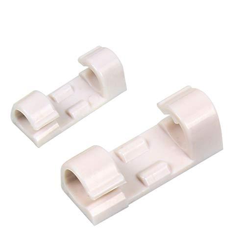 HLONGG 48 Abrazaderas de Cable pegajosos, Adhesivos Rack de Almacenamiento de Cable, Resistente y Robusto de gestión de Cables, Apto para Coches, oficinas y hogares,Blanco,48piece
