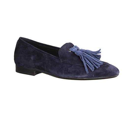 Donna Carolina 33.135.159 Navy/Oregon (blau) - Slipper - Damenschuhe Slipper/Trotteur, Blau, Leder (camoscio), absatzhöhe: 10 mm