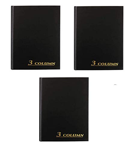 Adams Account Book, 7 x 9.25 inches, Black, 3-Columns, 80 Pages, 3 Books (ARB8003M)