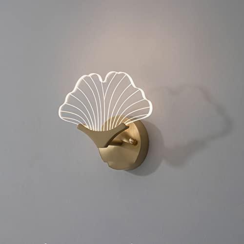 ZZXUAN Chino Lámpara de luz Creativa Ginkgo Leaf Sconce Iluminación Dormitorio Lámpara de Pared Completo,Material de Latón, 6w, 3000k