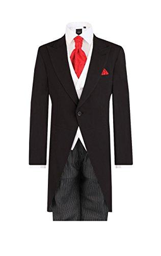 Dobell Herren Schwarzer Cut-Anzug mit Gestreifter Hose Zweiteilig (48 Jackett mit 48 Hosen)
