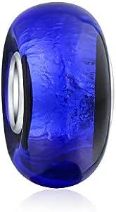 Bling Jewelry Azul Glitter Multicolor De Cristal De Murano 925 Core Abalorio Separador El Encanto Encaja Pulsera Europea para Mujer