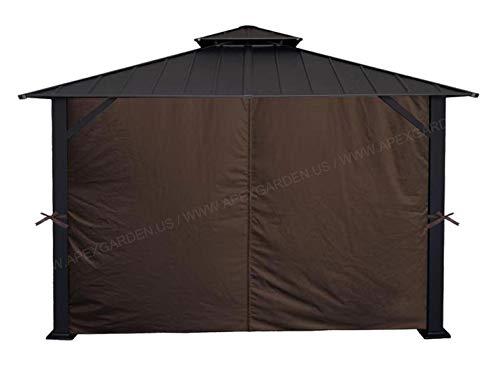 APEX GARDEN Universal Privacy Curtain Set for 10' x 12' Gazebo (Brown)