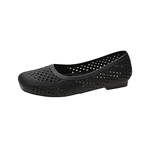 ZZLHHD Casual Alpargatas de Cuña Moda ,Sandalias Femeninas de Bolso de Color sólido, Zapatos de Mujer de Moda-Negro_38,Punta Abierta Cuero Fondo Plano Hebilla Sandalias