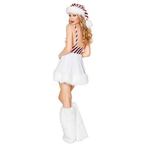 Xinchangda Traje De Papá Noel Dama con Sombrero Traje De Vestido De Tirantes Sexy, Traje De Fiesta De Cosplay Blanco con Piernas Calientes, Muy Adecuado para Nochebuena O Fiesta