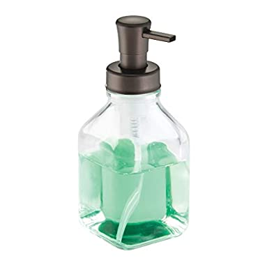 InterDesign Cora Glass Foaming Soap Dispenser Pump for Kitchen or Bathroom Sinks, Clear/Bronze
