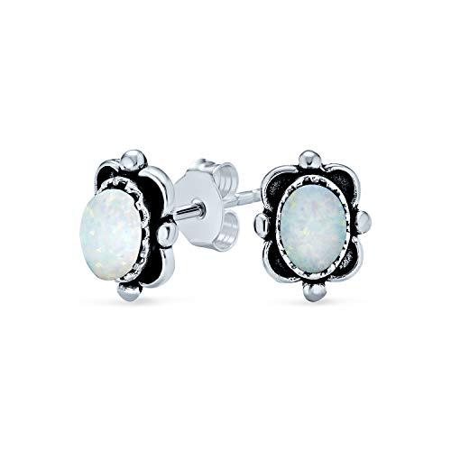 Bali Stile Oval White Rainbow creato Orecchini a bottone rettangolo opale per donna 925 Sterling Argento Ottobre Birthstone