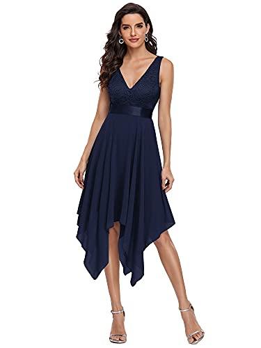Ever-Pretty Vestidos de Fiesta para Mujer Corte Imperio Escote en V A-línea con Encaje Gasa Vestido de Noche Azul Marino 38