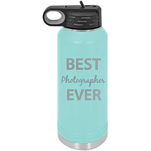 CustomGiftsNow Best Photographer Ever Double Wall Insulated Stainless Steel Engraved Sports Water Bottle with Flip Top Lid, Straw