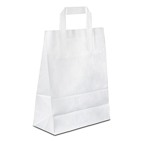 50 x Papiertragetaschen weiss 22+10x28 cm | stabile Papiertüten | Paper Bag Flachhenkel | Papiertaschen | Kraftpapiertüten | Tüte | HUTNER