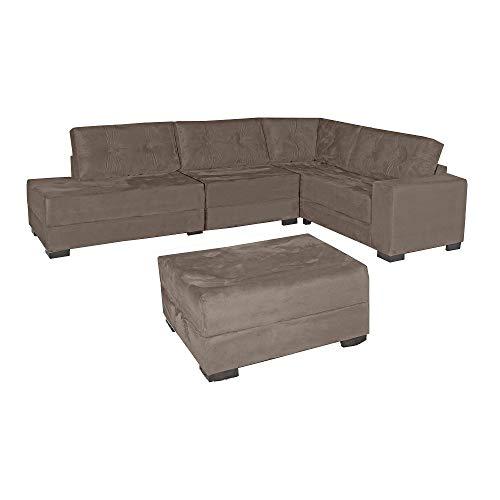 Sofa Bpastor Amarock de canto 3 e 2 lugares + Puff - Bege Escuro