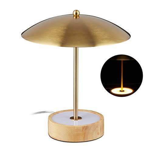 Relaxdays LED tafellamp, ronde houten sokkel met geïntegreerde LED's, ijzeren scherm, H x D: 31,5 x 27,5 cm, messing/natuur