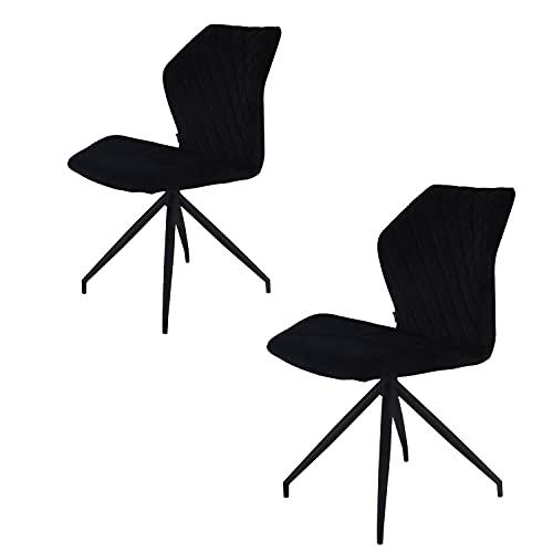 Rocky Esszimmerstühle 2er Set   Design Stuhl mit Stoffbezug   Velvet Samt schwarz (Samt Schwarz)