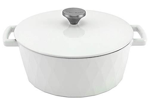 HearthStone Cocotte Diamond en fonte émaillée, blanc, 26 cm, 5,2 l, pour toutes les surfaces, y compris l'induction et le four.