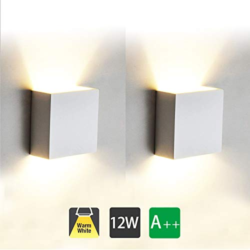 2 Pcs Moderno Lampara de Pared LED, 12W Aplique Pared Interior de Aluminio 3000K Blanco Cálido...